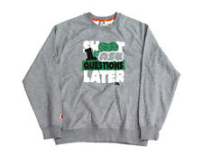 Mens Nike Shoot First Ask Questions Later Sweatshirt Grey White Green 343329-063