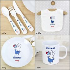 Personalised Gifts, Miffy Playful, Cutlery Set, Baby Bib, Plastic Plate, Mug
