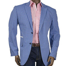 NWT INSERCH MAN'S BLAZER TWO BUTTONS SIDE VENTS NO LINING POLYESTER ROYAL
