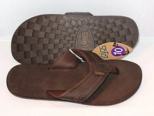 *NEW* MEN'S FLOJOS RYDER FLIP FLOPS SANDALS THONGS LEATHER SUPPORT NYLON BROWN
