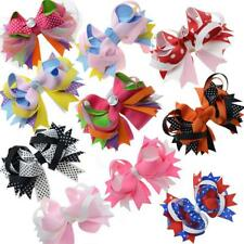 """10 pieces 5"""" Large Stacked Girls Ribbon Boutique Hair bows Alligator Clips For T"""