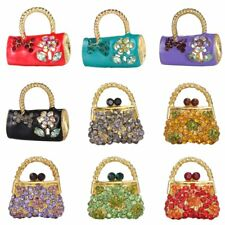 Colorful Charm Rhinestone Bag Shape Brooch Pin Women Costume Party Jewelry Gift