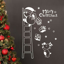 Santa Claus Climb Ladder Gift Christmas Glass Window Wall Sticker Xmas Ornament
