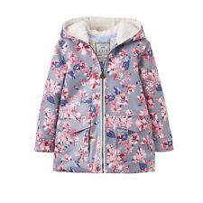 Joules Girls Raindrop Waterproof Coat in Soft Grey Floral - Ages 3 to 9-10