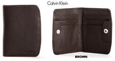 New  Calvin Klein Mens Leather Front Pocket Wallet Snap Button Brown or Black