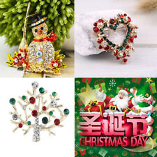 Beautiful Red Green Christmas Snowman/Tree/Peach Heart Ring Brooch Pin