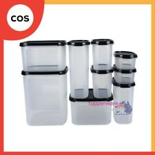 Tupperware 9 Pcs Modular Mates Oval Square Essential Set Black/Red+Mystery Gift
