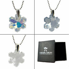 FASHIONS FOREVER® 925 Sterling Silver Snowflake Crystal (6704) Necklace Pendant