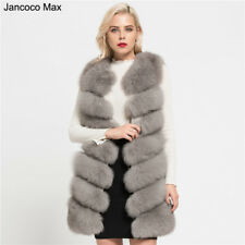 New Women Real Fox Fur Long Gilet Vest Waistcoat Coat Jacket 7 Rows Winter 37161