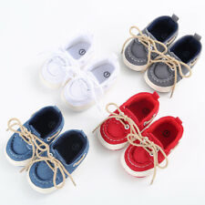 Newborn Baby Boy Girl Soft Sole Canvas Pram Shoes Trainers 0-12 Months Infant