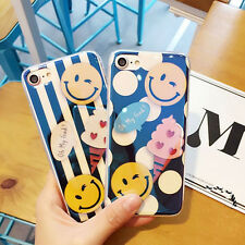 Lovely Cartoon Smile Face Soft Silicone Case Cover For iPhone 7/7 plus/6s Blue