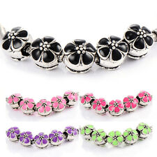 5Pcs Silver Plated Enamel Flower European Bead Fit Bracelet Multicolor