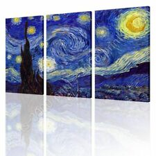 READY TO HANG CANVAS Starry Night Vincent Van Gogh 3 Panels Framed Wall Decor