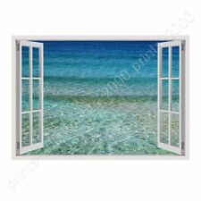 READY TO HANG CANVAS Aqua Fake 3D Window Oil Paintings Prints Framed Wall Art