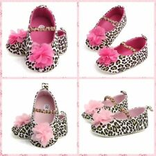 Toddler Baby Girl Flower Shoe Princess Leopard Floral Soft Sole Crib Shoes 0-12M