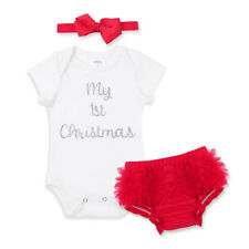 Infant Baby Girls My 1st Christmas Outfit Romper+Bloomers +Headband Outfits Set