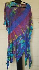 NEW Womens Tie Dye Hippy Boho Pixie Cut Dress Top Viscose Stretchy Soft Cotton