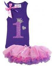 Purple Pink Baby Girl 1st First Birthday Tutu Outfit Shirt Set Add Name