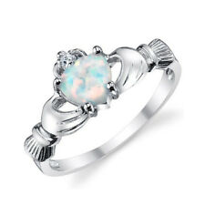 1ct White Fire Opal Elegant 925 Silver Claddagh Ring Wedding Engagement Size6-10