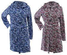 Ladies Heart Design Hooded Dressing Gown Soft Fleece Bath Robe Pom Pom Ties