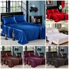 4 Pcs Set SATIN SHEETS King Queen Full Size Silky Soft Bedding Luxury Bed Linen
