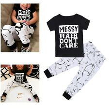 Messy Hair Don't Care Kids Baby Girl Clothes Set T-shirt Tops+Long Pants Outfits