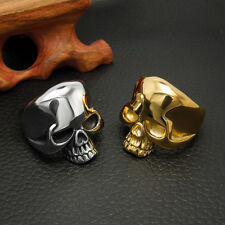 New Fashion Cool Skull 316L Stainless Steel Smooth Rings US 7# -12# Hollow Gifts