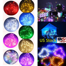 US 2/5/10M LED Copper Wire String Fairy Light Xmas Party Wedding Battery Powered