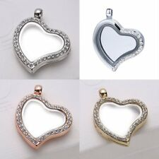 Floating Locket Charms Living Memory Heart Glass Pendant Necklace + Beaded Chain