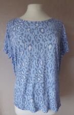 M&S  size 20 22 24 - lovely BLUE white grey abstract print TOP/ blouse - BNWT
