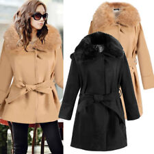 New Women Woolen Blend Winter Coat Fur Collar Slim Casual Outwear Trench coat