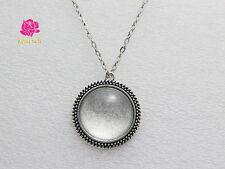 30mm pendant blank setting + clear glass domed + rolo chain necklace 5sets