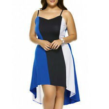 Women Color Block Spaghetti Strap Sleeveless Backless Casual Novelty Dress