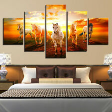 Sunset Prairie Horses Paintings Poster Modern Picture Canvas Wall Art Home Decor