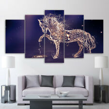 Horse From Water On Blue Paintings Poster Modern Canvas Wall Art Home Decor