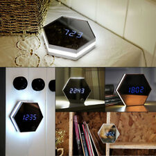 Hexagonal Clock Termometer Alarm Clock Led Lights Multifunction Mirror Glass