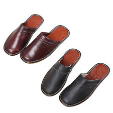 Mens Slippers Shoes Classic Leather Closed Toe Indoor House Home Slippers Size A