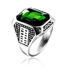 Mens Jewelry Natrual Gem Stone Green Emerald Silver Ring 7/8/9/10/11/12 Womens