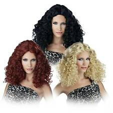 Women's Curly Diva Witch Singer Curly Costume Wig Halloween Blonde Red Black