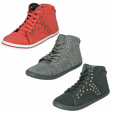 SPOT ON LADIES LACE UP CASUAL STUDDED FLAT HI TOP TRAINERS BOOTS F8R960