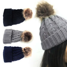 Children Kids Baby Boy Girl Winter Knitted Cap Faux Fur Pom Ball Wool Beanie Hat
