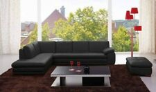 J&M 625 Contemporary Premium Black Leather Upholstery Sectional Sofa