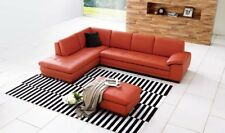 J&M 625 Contemporary Premium Pumpkin Leather Upholstery Sectional Sofa