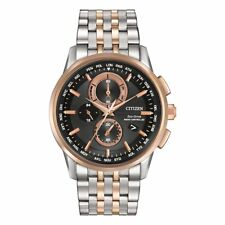 Citizen World Chronograph A-T: Mens Eco-Drive Two-Tone Steel Watch AT8116-57E
