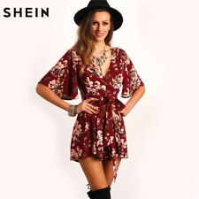 SHEIN Shorts Rompers Womens Jumpsuits Summer Ladies Red Sexy Deep V Neck Short: