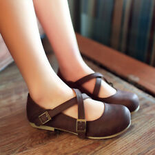 New Womens Round Toe Casual Oxford Ballet Flats Mary Jane Buckle Shoes