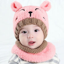 Baby Cute Bear Warm Velvet Tab Crochet Knit Hat Beanie Cap+Scarf Suit Winter