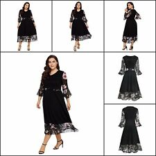 Women Evening Dress Flared Sleeve Chiffon Floral Plus Size Bell Long Maxi Dress