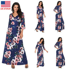 Women 3/4 Sleeve Floral V Neck Party Dress Tunic Boho Cocktail Wedding Ball Gown