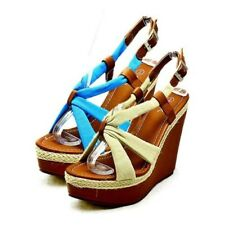 Ladies soft feel fabric strappy high heel wedge sandals